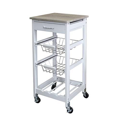 HappyhomeRolling Cart Küche Speisewagen Küche Regal Removable Küche Regal DREI-Schicht Bewegliche Wagen Geeignet für Küche Wohnzimmer Badezimmer