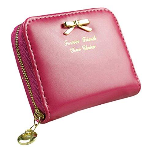 Fashion da donna in finta pelle portafoglio CARD Holders Mini Borsa Green Rose Red