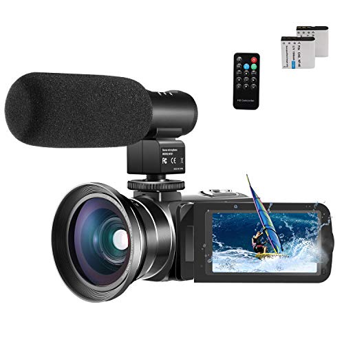 Videokamera Camcorder, Cofunkool 1080P Full HD 16X Digital Zoom Nachtsicht Vlogging Kamera mit externem Mikrofon Weitwinkelobjektiv Fernbedienung - Camcorder Kamera