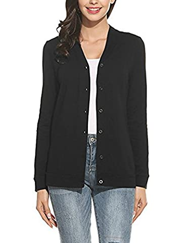 Minetom Women's Casual Solid Short Knitted Cardigan Long Sleeve Jumper Coat Ladies Slim Fit Buttoned Sweater Jacket Blazer Tops Black UK