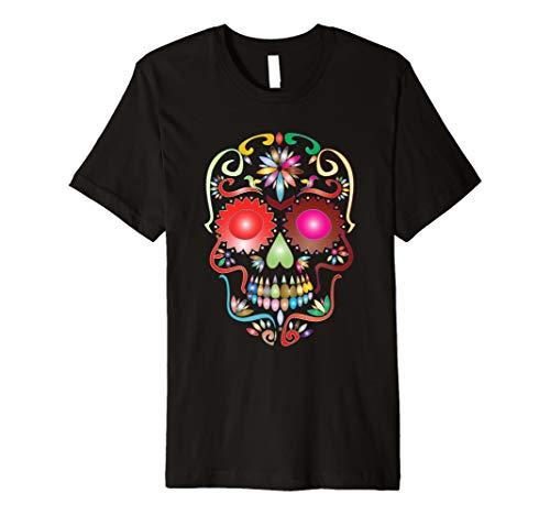 Colorful Sugar Skull T-Shirt für Mexikanischer Tag der Toten (Sugar Skull Kostüm Einfach)