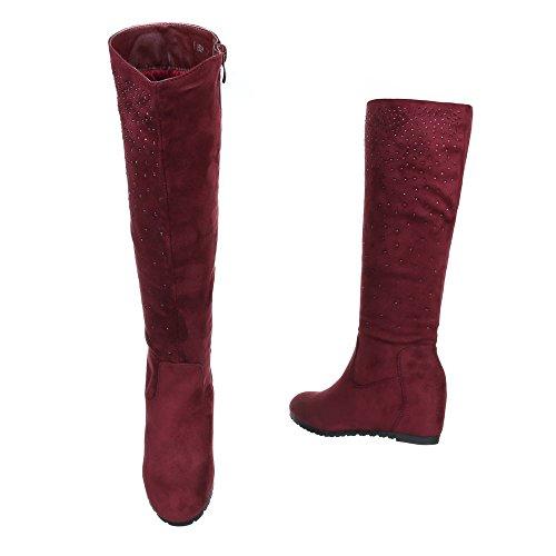 Keilstiefel Damenschuhe Keilabsatz/ Wedge Strass Deko Ital-Design Stiefel Rot
