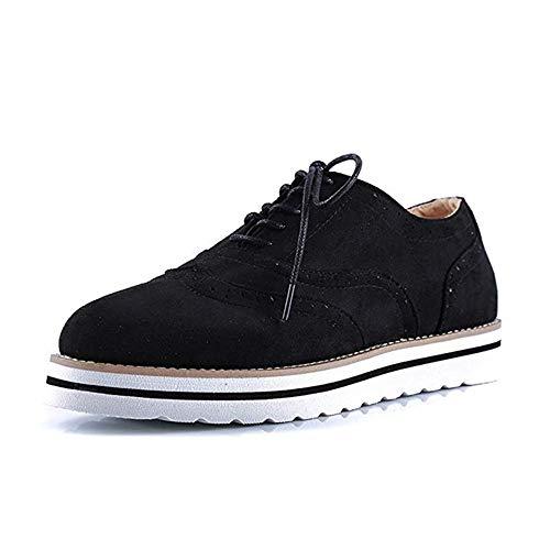 Rioneo Damen Schnürschuhe Oxford Schuhe Feminine Brogues Flache Freizeit Vintage Schnürer Schuhe Schwarz Pink Grau Blau Brown 35-43 Schwarz 42