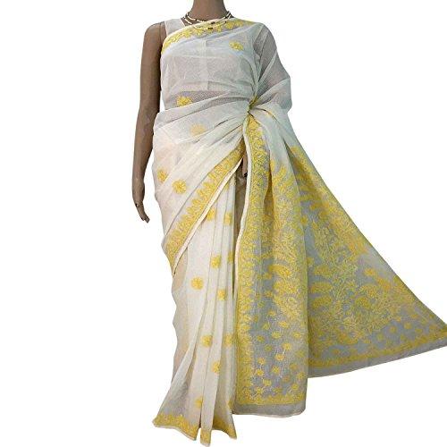 R'ZU Women's Yellow Lucknowi Chikankari Kota Sari