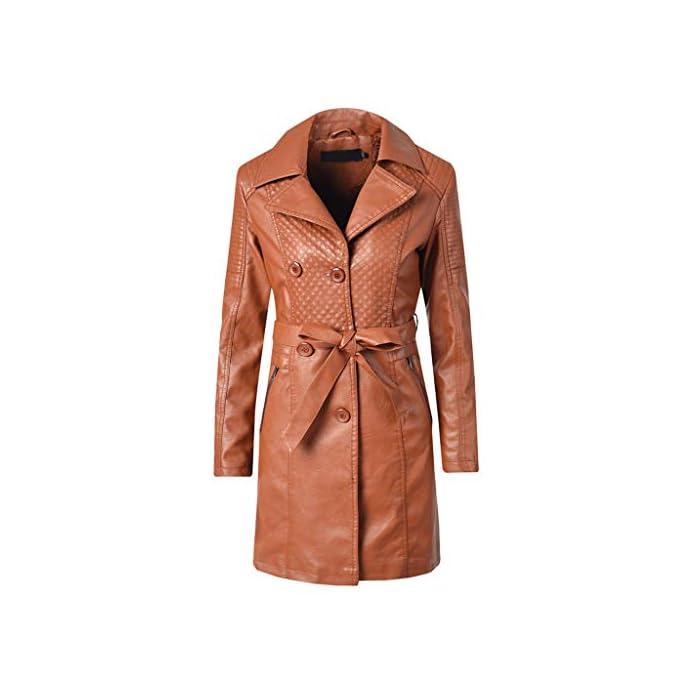 URSING Damen Lederjacke Kunstlederjacke Mode Leder Jacke Damenjacke Jacket Bikerjacke Slim OutdoorjackeTrainingsjacke…