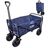 Sable SAHF021002 Garden Folding Wagon Foldable Heavy Duty Trolley Utility Transport Cart 100kg Max Load, for Outdoor/Festivals/Camping, Blue