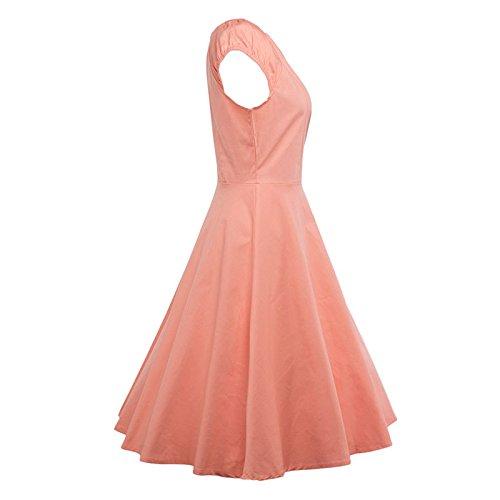 Dabag -été Hepburn Style Retro Color pure Manches courtes mince Taille Robe de soirée Simple TuTu Robe Swing 2017 (XXL, Rot) Rose