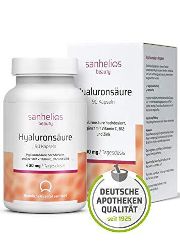 Sanhelios® Hyaluronsäure hochdosiert mit 400 mg je Kapsel + Vitamin C, B12 & Zink - Für Haut, Anti-Aging und Gelenke - 90 vegane Kapseln im 3 Monatsvorrat - Premium 500-700 kDa - Apothekenprodukt