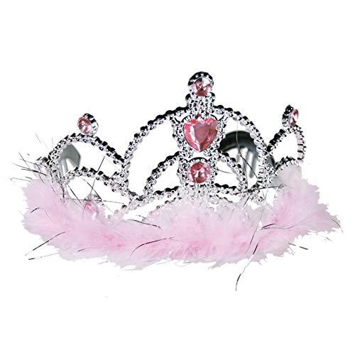 Preis am Stiel Prinzessinnen Krone mit rosafarbenen Dekosteinen und Plüsch   Frauen Kostüm   Fotobox   Verkleidung   Party Zubehör   Mädchen Geburtstag   Prom   JGA   Diademe   Prinzessin Outfit