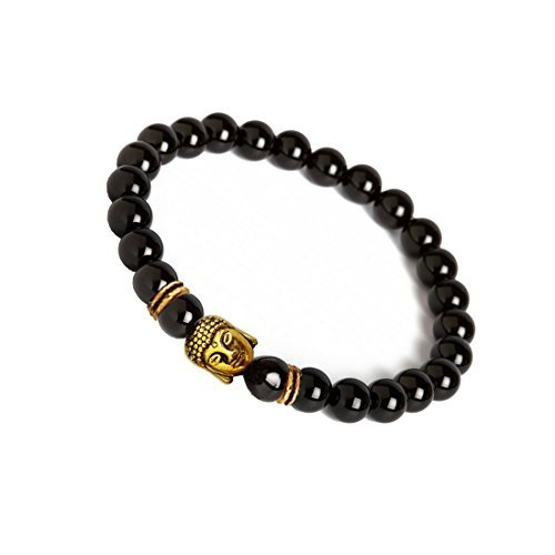 Menjewell New Classic Collection Gold::Black Handmade Style Buddha Natural Stone Black Onyx Beads Bracelet For Men/Women/Boys/Girls. (Natural Womens Girls)