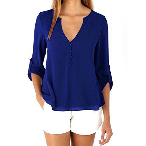 Evishine Damen Blusen Sommer Casual V-Ausschnitt Langarm Lose Chiffon Blusen T-Shirt Tops (EU38(Herstellergröße:L), Blau)