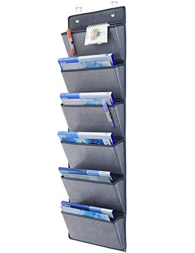 homyfort Hängeaufbewahrung für über die Tür oder Wand - Magazinboard, Hängeorganizer, Stoffregal, Zeitungshalter,6 Taschen Grau MAGAZINE1