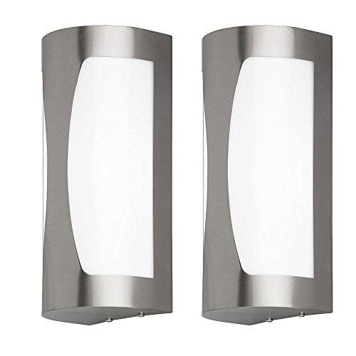 Lot de 2 lampes de mur de projecteurs d'éclairage extérieur d'acier inoxydable IP44 1 allumant la flamme