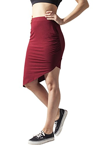Urban Classics Ladies Asymetric Viscose Skirt, Gonna Donna Rot (burgundy 606)