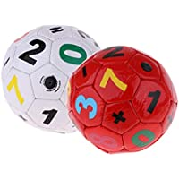 P Prettyia 2 x Juguete de Pelotas de Fútbol para Actividades Recreativos y Coordinación Ligera y Duradera, Rojo + Blanco