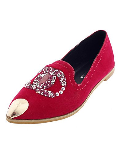 ZQ gyht Scarpe Donna-Ballerine-Casual-A punta-Piatto-Finta pelle-Nero / Rosso , red-us6 / eu36 / uk4 / cn36 , red-us6 / eu36 / uk4 / cn36 red-us7.5 / eu38 / uk5.5 / cn38