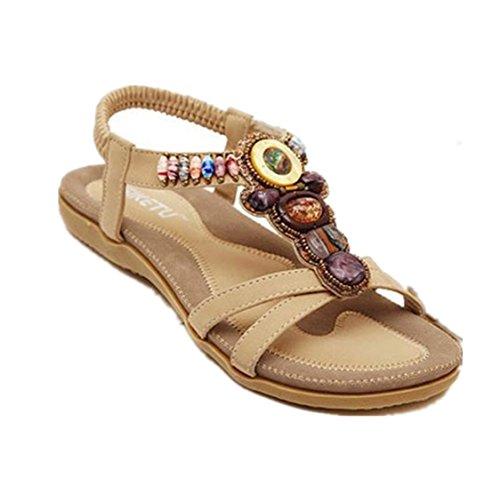 Vovotrade Doux Fashion perlée clip Toe Flats Femmes Sandales Herringbone Bohême (EU Size:39, Kaki)