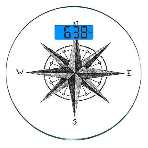 Digitale Präzisionswaage für das Körpergewicht Runde Kompass Ultra dünne ausgeglichenes Glas-Badezimmerwaage-genaue Gewichts-Maße,Seamanship Hand Drawn Windrose mit vollständigen Richtungen Nord-Süd-W -