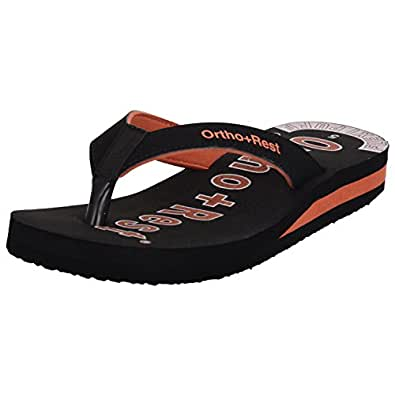 Ortho + Rest Black Slippers for Women (Size: 4)