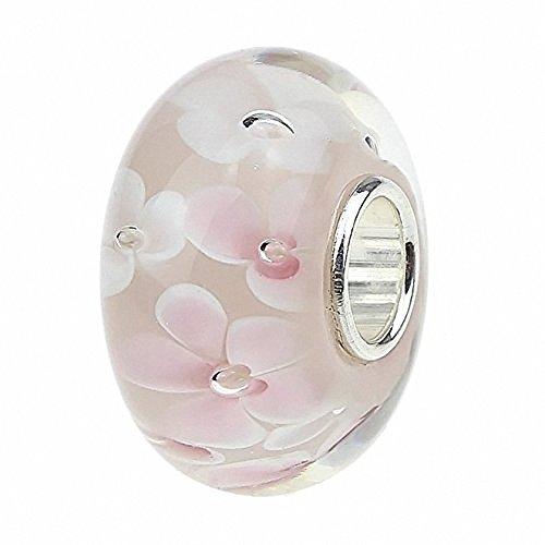 Perlina in vetro di murano rosa, con nucleo in argento sterling 925,motivo floreale, adatto per braccialetti di tipo europeo