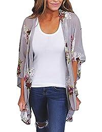 104957cfe28 Quistal Womens Floral Print Sheer Chiffon Kimono Cardigan Blouse Loose  Shawl Cover up Beachwear