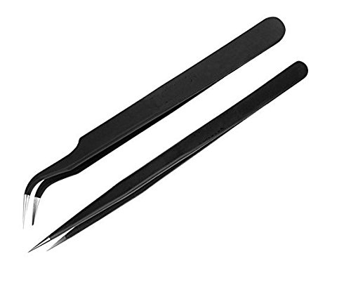 PagKis Set of 2 black coated Stainless Steel Tweezers - Straight & Curved