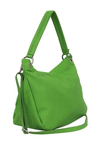 AMBRA Moda Damen echt Ledertasche Handtasche Schultertasche Beutel Shopper Umhängtasche GL002 Viele Farben Apfelgruen