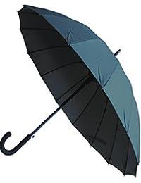 COLLAR AND CUFFS LONDON - Paraguas Clásicos - MUY FUERTE - Antiviento - Automático - Alta Ingeniería Para Luchar Contra El Daño Causado Por Giro - 16 Varillas Para La Fuerza Adicional - Gris - Grandes
