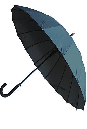 COLLAR AND CUFFS LONDON - Ombrello Classico - MOLTO FORTE - Antivento - Automatico - Di Alta Ingegneria Per Combattere I Danni Causati Da Ribaltamento - 16 Bacchette - 120cm Tela - Grigio - Grande