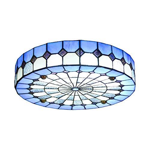 YII Mediterrane Stil Ceiling Light, LED Tiffany Lampe Runde Blaue Glas Romantik-Licht für...