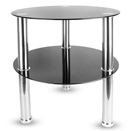 Maison & White Kleiner runder Glas Tisch mit 2 Ebenen |Seitenablage Regal Couchtisch | Edelstahlbeine mit gehärteten Glasoberflächen (Schwarz) -
