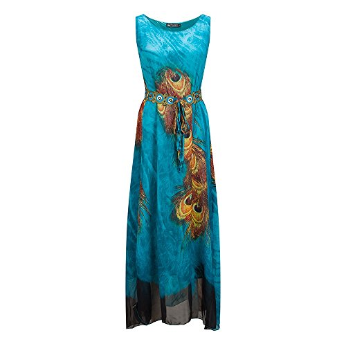 Armlos Strandkleider Rundhals Langes Sommerkleider Maxikleider mit Pfau Feder Motiv Abendkleid Cocktailkleid Partykleid Plus Size - Farbe: Blau - Größe: EU 44 (Plus Size Kleid Pfau)