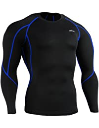 emFraa Homme Femme Sport Compression Black Base layer Tee-Shirt Long sleeve S~XXL