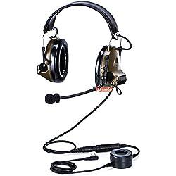 Militar automáticamente Ronda de gastos generales de cancelación de ruido auriculares auricular con PTT para 2pines KENWOOD BAOFENG PUXING QUANSHENG WEIERWEI WOUXUN HYT Radio etc.