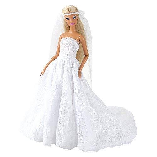 dc7838f5604e Miunana Vestito Abito Da Sposa Stile Principessa Per Festa Di Sera Con Velo  Per Barbie Doll Bambola Per Regalo ...
