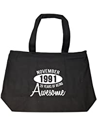 November 1991 26 Years Of Being Awesome Funny Birthday Gift - Tote Bag With Zip