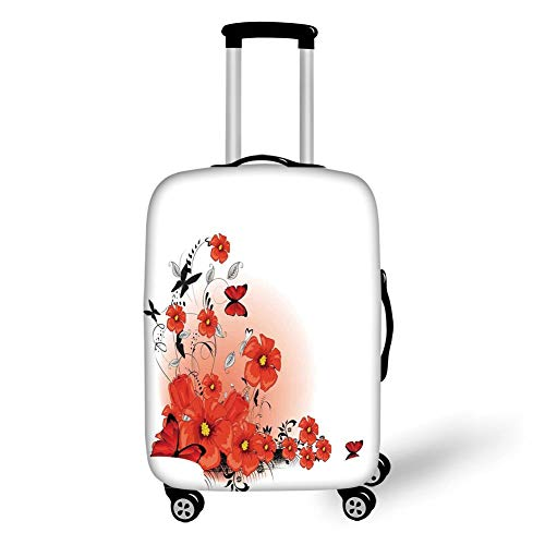 Travel Luggage Cover Suitcase Protector,Poppy,Floral Flash Background with Butterflies Spring Season Hope Inspiration Theme,Red White Black,for Travel -