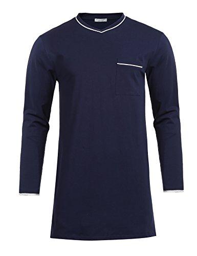 Avidlove Nachthemd Herren Langarm Baumwolle Modisches Schlafanzugoberteil Schlafshirt Grau XL EU 52 54