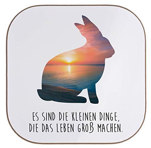 Mr. & Mrs. Panda Frühstück, Party, Quadratische Untersetzer Hase mit Spruch - Farbe Sonnenuntergang - Cottage Frühstück