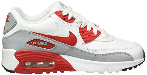 Nike Nike Air Max 90 Leather (Gs) Shoe, Sneakers basses mixte enfant Weiß (106 WHITE/UNIVERSITY RED-WOLF GREY-BLACK)