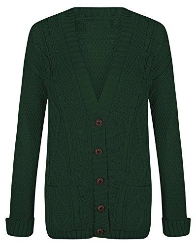 Bouton tricoté longues pour femmes Chunky câble Cardigan EUR Taille 36-54 Vert