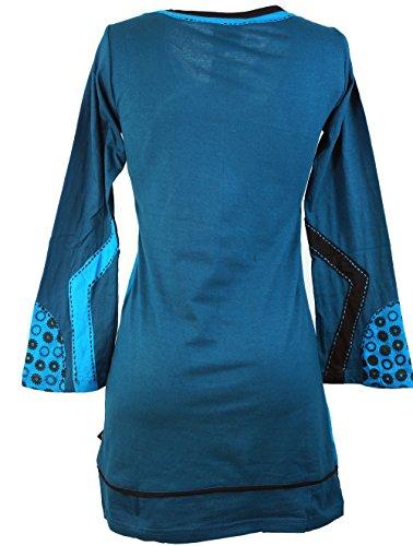 Guru-Shop Tunika, Minikleid Boho-chic, Damen, Baumwolle, Tunikas Alternative Bekleidung Blau