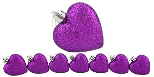 Christmas Concepts 8 x 60mm Violet Glitter en forme de coeur d'arbre de Noël Babioles