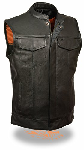 Milwaukee SOA Men's Naked Cowhide Leather Vest Zipper & Snap Front w/ 2 Inside Gun Pockets & Single Panel Back (Large) Panel Snap