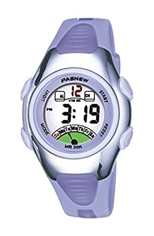 PASNEW Fashion Waterproof Children Boys Girls LCD Digital Sport Watch with Alarm, Chronograph, Date(Purple)
