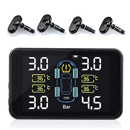 Kbsin212 Reifendruckkontrollsystem Auto TPMS Reifendruck Kontrollsystem Reifendruckmesser mit Intern Solarzelle, 4 Sensoren, LCD Display Für Auto, SUV, KFZ