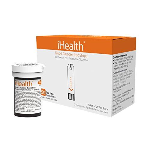 iHealth 23512 Confezione da 50 Strisce Glicemia per Glucometro BG5/BG1