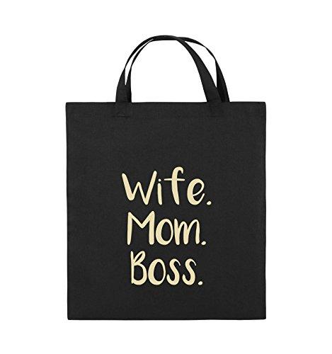 Comedy Bags - Wife Mom Boss - Jutebeutel - kurze Henkel - 38x42cm - Farbe: Schwarz / Pink Schwarz / Beige