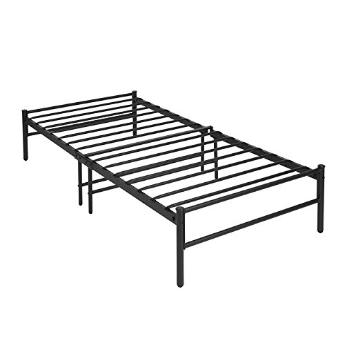 Aingoo Gästebett Einzelbett Single Bett Metallbett Metall Rahmen Bett mit Lattenrost Tagesbett Jugendbett Kinderbett Schwarz (90 x 190 cm ohne Kopfteil)