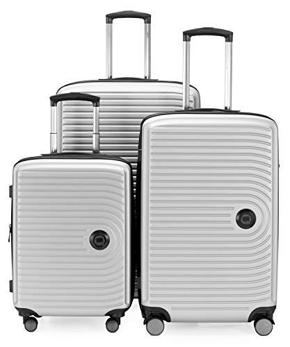 HAUPTSTADTKOFFER - Mitte - Set di 3 valigie - bagaglio a mano da 55 cm, valigia media da 68 cm, valigia grande da 77 cm, in ABS rigido, TSA, Bianco